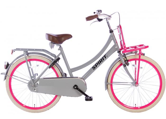 Spirit Cargo Grijs-Roze Meisjesfiets 24 inch