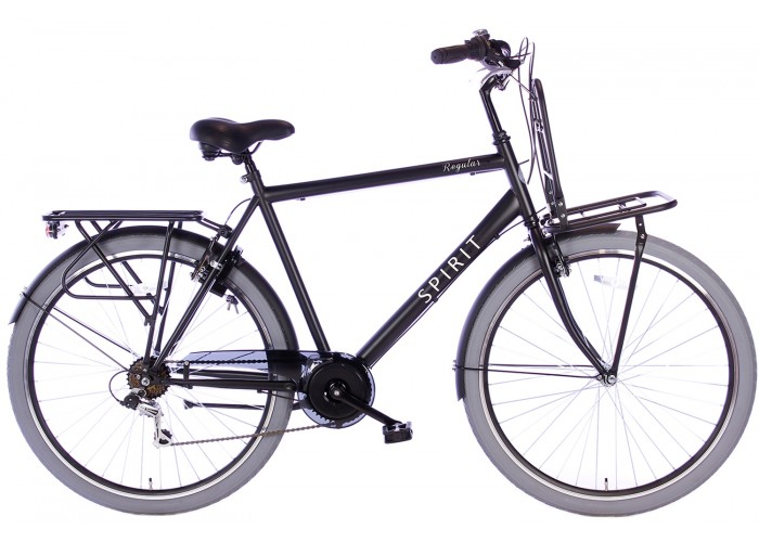 Spirit Regular Plus 7-Speed Mat-zwart Herenfiets