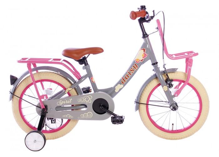 Spirit Daisy Meisjesfiets Grijs-Roze 16 inch