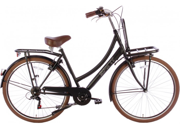 Spirit Transportfiets 6-Speed Mat-Zwart 28 inch